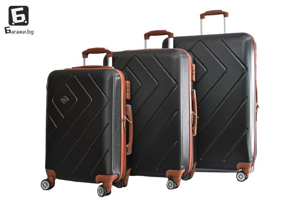 Черен куфар от ABS в 3 размера код: 842