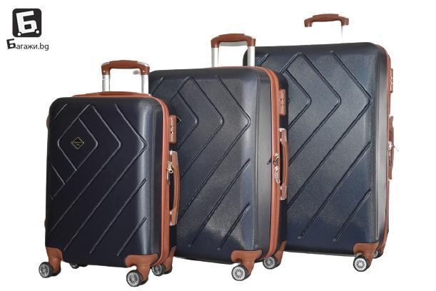 Тъмно син куфар от ABS в 3 размера код: 842