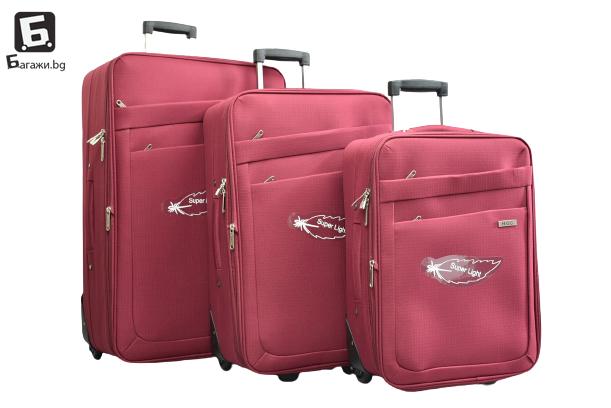Червен олекотен куфар в 3 размера код: 42