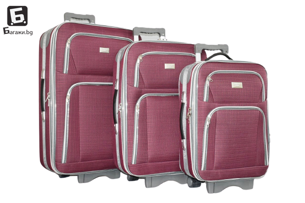 Текстилен куфар в 3 размера - бордо код: Г3