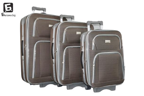 Кафяв текстилен куфар в 3 размера код: Г3