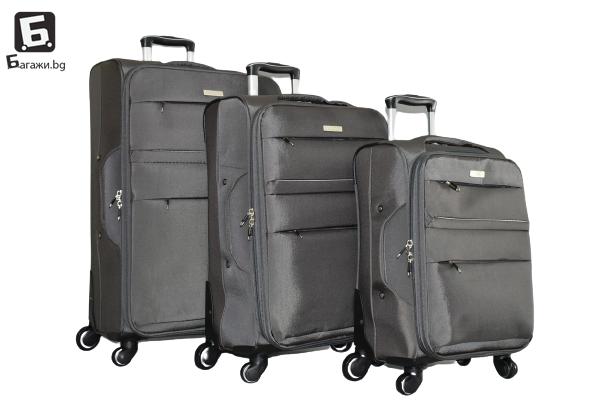 Сив текстилен куфар в 3 размера код: 8299