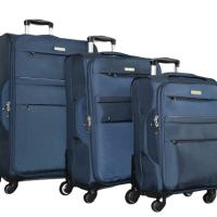 Син текстилен куфар в 3 размера код: 8299