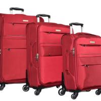 Червен текстилен куфар в 3 размера код: 8299