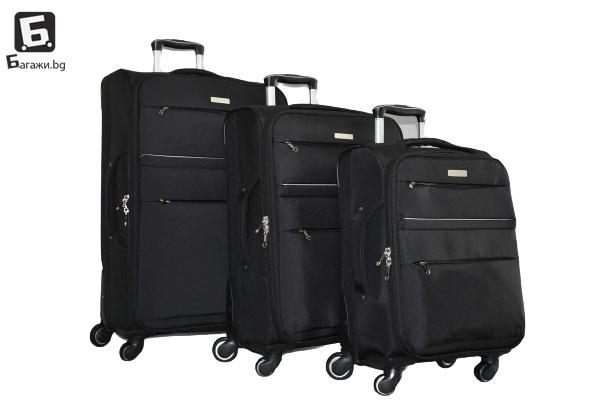 Черен текстилен куфар в 3 размера
