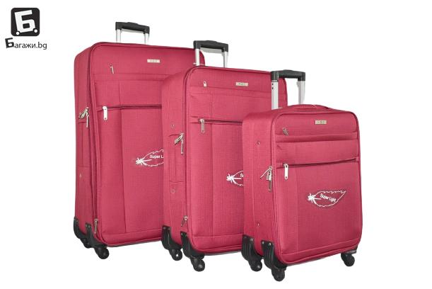 Олекотени куфари в 3 размера - бордо код: 18105