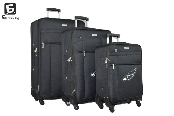 Черни олекотени куфари в 3 размера код: 181