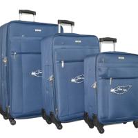 Сини олекотени куфари в 3 размера код: 18105КУФАРИ В 3 РАЗМЕРА - СИН КОД: 18105