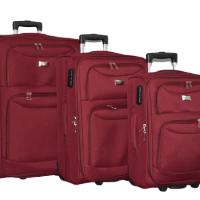 Текстилен куфар в 3 размера - бордо код: 1029-2