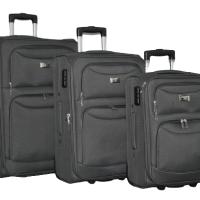 Сив текстилен куфар в 3 размера код: 1029-2