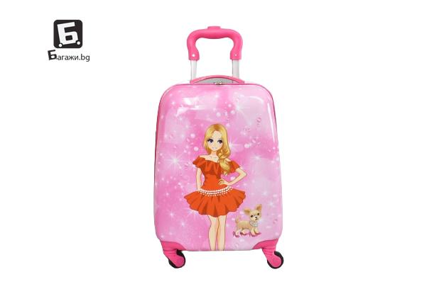 Детски куфар с четири колела момиче с куче код: 31800
