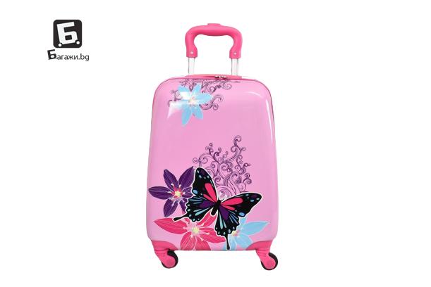 Детски куфар с четири колела пеперуди код: 31800