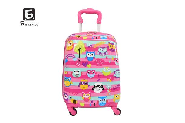 Детски куфар с четири колела бухалчета код: 31800