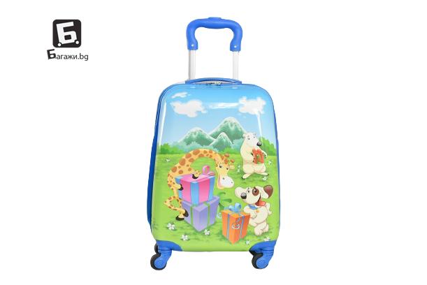 Детски куфар с четири колела джунгла код: 31800
