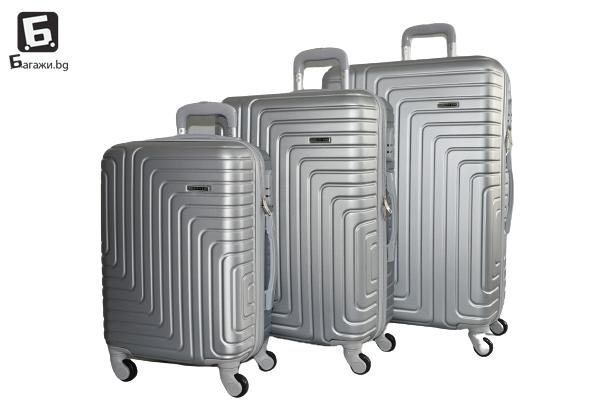 Сив куфар в 3 размера код: 8071