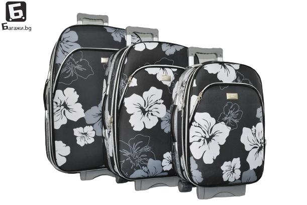 Черен олекотен куфар в 3 размера код: 1518-1
