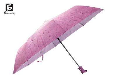 Полуавтоматичен сгъваем чадър- виолетов