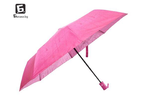 Полуавтоматичен сгъваем чадър- розов