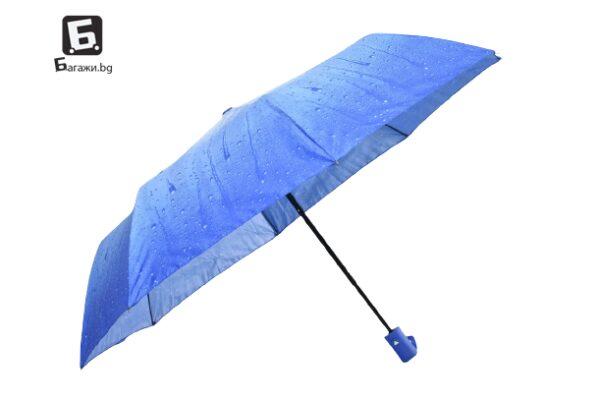 Полуавтоматичен сгъваем чадър- син