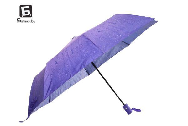 Дамски чадър полуавтоматичен, еднопосочно сгъваем