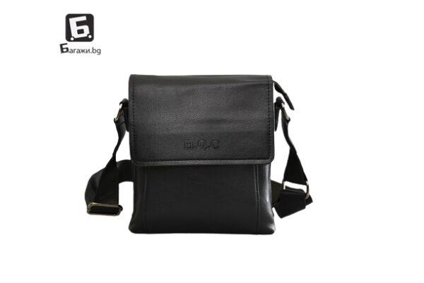 Черна мъжка чанта от еко кожа код: 8360-1
