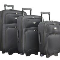 Черен текстилен куфар в 3 размера код: 9088