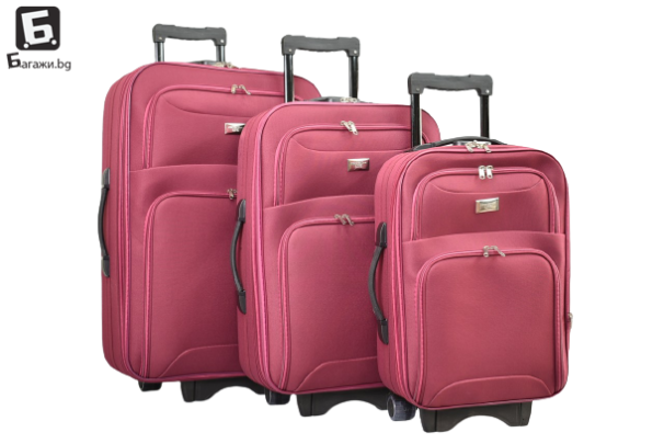 Бордо текстилен куфар в 3 размера код: 9088