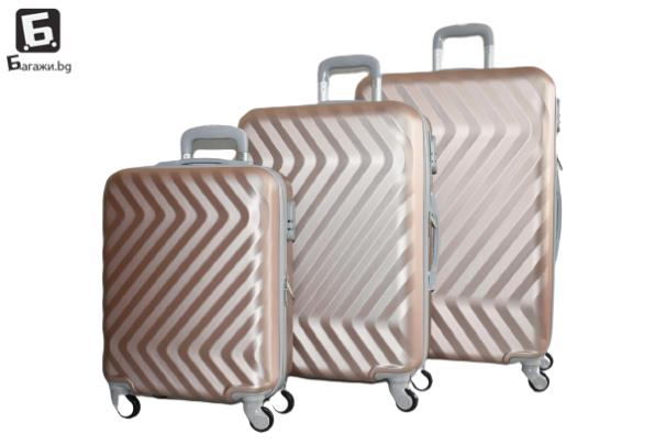 Твърди куфари в три размера - розово злато код: 8089