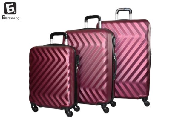 Твърди куфари в три размера - бордо код: 8089