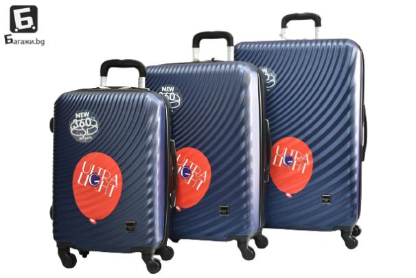 Твърди куфари в три размера - син код: 8077
