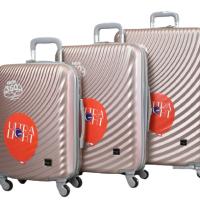 Твърди куфари в три размера - розово злато код: 8077