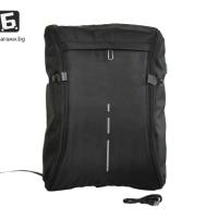 Изцяло отваряща се черна раница с USB кабел код: 0257
