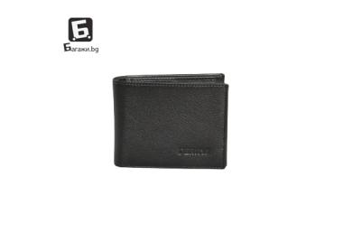 Мъжки портфейл от естествена кожа - черен код: д112