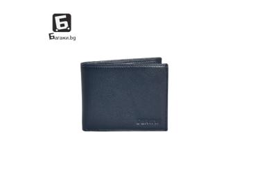 Мъжки портфейл от естествена кожа - син код: д112