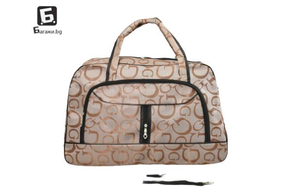 Бежова пътна чанта от текстил код: 32003