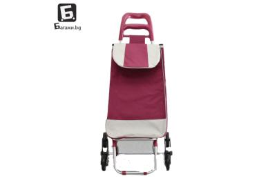 Червена пазарска количка с тройни колела код: 11795