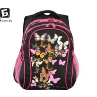 Ученическа раница с пеперуди черна код: 277