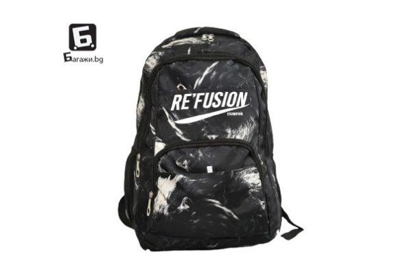 Камуфлажна ученическа раница Re Fusion- сива код: 8671