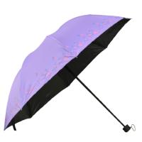 Дамски чадър с цветя- лилав