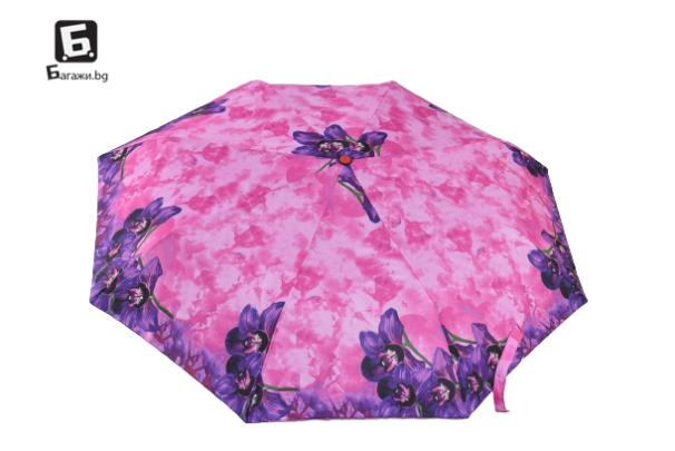 Автоматичен сгъваем чадър- розов