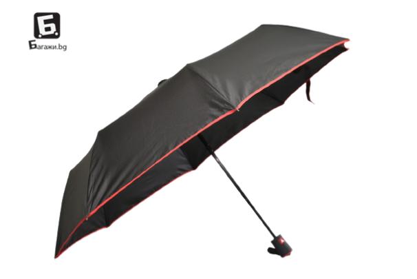 Полуавтоматичен сгъваем чадър- черен с червено