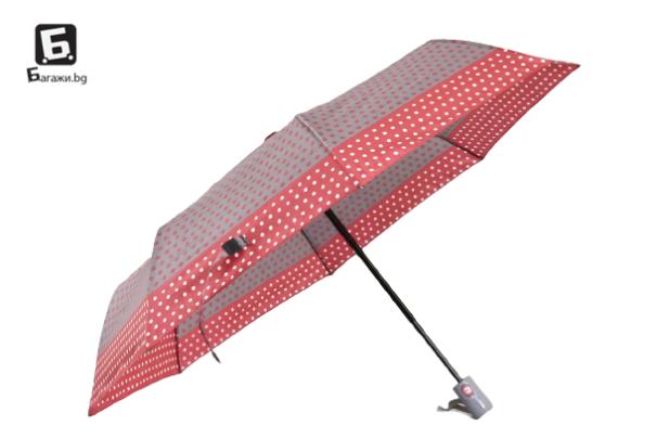 Автоматичен дамски чадър- сив