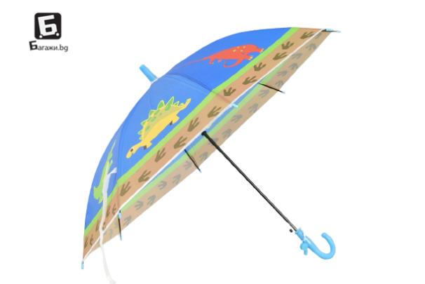 Детски чадър син с динозаври