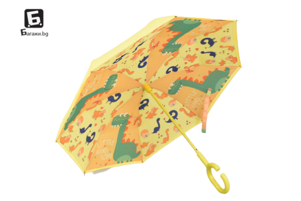 Ветроупорен детски чадър жълт с динозавър
