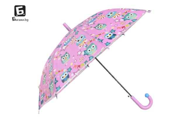 Детски чадър с.розов с бухалчета