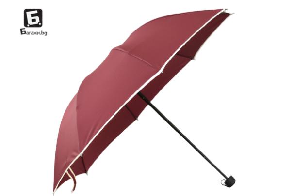 Сгъваем чадър- бордо
