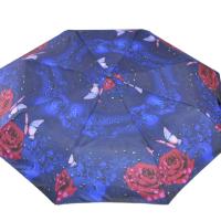Автоматичен сгъваем чадър- син с рози