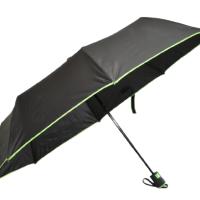Полуавтоматичен сгъваем чадър- черен с зелено