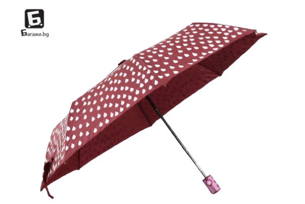 Полуавтоматичен магически чадър- червен