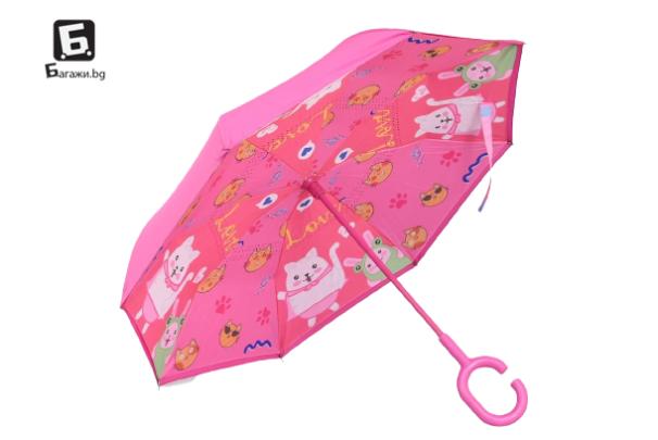 Ветроупорен детски чадър розов с коте
